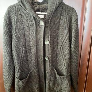 Black sweater jacket with hood